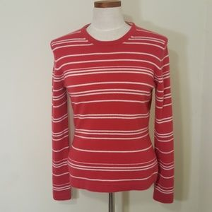 Saks Fifth Avenue Red Striped Cashmere Sweater